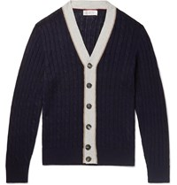 Brunello Cucinelli Striped Cable Knit Linen And Cotton Blend Cardigan Blue
