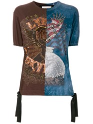 Night Market Beaded Embroidery T Shirt Brown