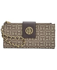Tommy Hilfiger Monogram Jacquard Wristlet Wallet Tan Dark Chocolate