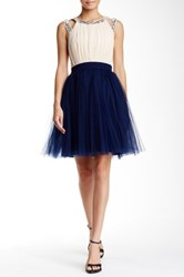 Little Mistress Embellished Chiffon And Tulle Prom Dress Blue