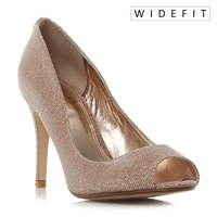 Dune Dinaa Wide Fit Peep Toe Court Shoes Rose Gold