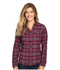 Columbia Simply Put Ii Flannel Shirt Purple Dahlia Large Plaid Women's Long Sleeve Button Up Red