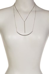 14Th And Union Double Row Curved Long Bar Pendant Necklace Metallic