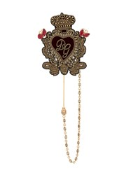 Dolce And Gabbana Sacred Heart Brooch Gold