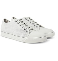 Lanvin Cap Toe Nubuck And Rubberised Leather Sneakers Ivory