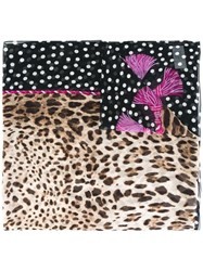 Dolce And Gabbana Leopard Print Scarf Purple