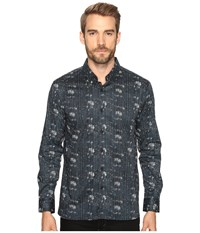 7 Diamonds Etched Out Long Sleeve Shirt Navy Men's Long Sleeve Button Up