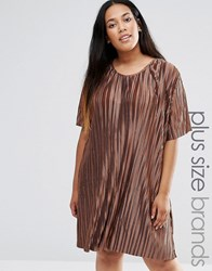 Alice And You Plisse T Shirt Swing Dress Chocolate Brown