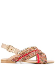 Emanuela Caruso Fringed Open Toe Sandals Neutrals