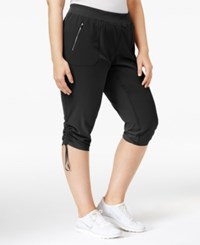 Calvin Klein Performance Plus Size Shirred Cropped Pants Black