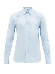 Alexander Mcqueen Pique Panelled Cotton Poplin Harness Shirt Light Blue
