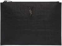 Saint Laurent Black Croc Embossed Monogram Document Holder