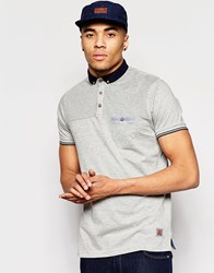 Brave Soul Contrast Chest Spot Polo Grey