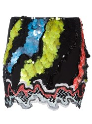 Versace 'Jagged Baroque' Sequin Detail Skirt Black