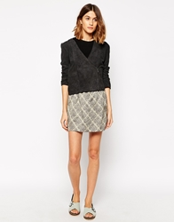 Le Mont St Michel Skirt In Grid Print Greigeground