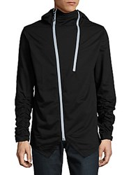 American Stitch Ruched Hoodie Black