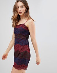 Deby Debo Deborah Multi Lace Slip Dress Red