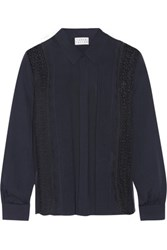 Tanya Taylor Estelle Lace Paneled Silk Crepe De Chine Shirt Midnight Blue