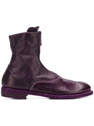 Guidi Zipped Front Ankle Boots Purple