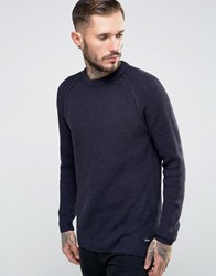 Only And Sons Ribbed Fishermans Knitted Jumper Navy