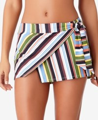 Anne Cole Studio Comic Stripe Asymmetrical Swim Skirt Women's Swimsuit Multi