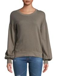 Paige Scoopneck Cotton Sweatshirt Tan Olive