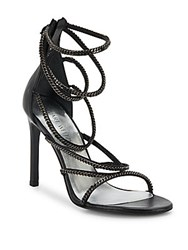 Stuart Weitzman Xchain Leather Evening Sandals Graphite Chains