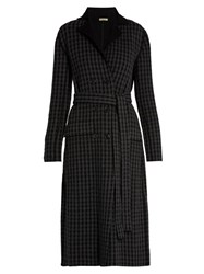 Bottega Veneta Notch Lapel Checked Wool And Cashmere Blend Coat Grey Multi