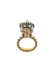 Alexander Mcqueen King Skull Ring Metallic