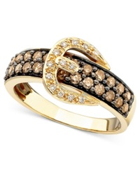 Le Vian Chocolate Diamond 3 4 Ct. T.W. And White Diamond Accent Buckle Ring In 14K Gold