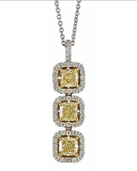 Neiman Marcus Diamonds Three Stone Yellow Diamond Pendant Necklace 1.80Tcw