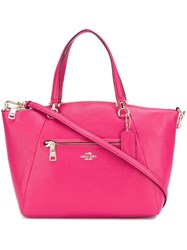 Coach Gold Tone Zipped Medium Tote Pink And Purple