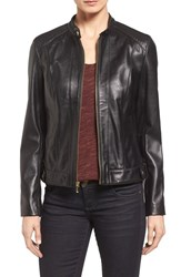Cole Haan Women's Leather Moto Jacket Black