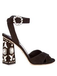 Dolce And Gabbana Crystal Embellished Block Heel Suede Sandals Black