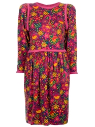 Yves Saint Laurent Vintage Floral Print Dress Pink And Purple