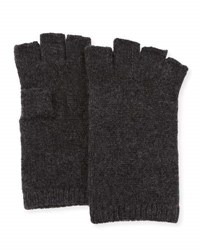 Neiman Marcus Cashmere Basic Fingerless Gloves Charcoal
