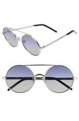 Wildfox Couture Ace 55Mm Round Sunglasses Silver Grey Blue Gradient Silver Grey Blue Gradient