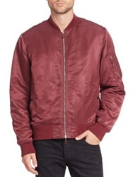 Rag And Bone Long Sleeve Bomber Jacket Burgundy Black
