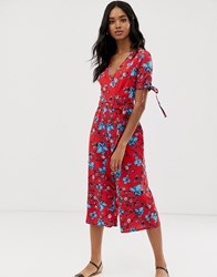 Qed London Floral Wrap Front Jumpsuit With Tie Sleeve Detail Red