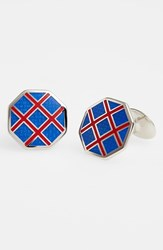 Men's David Donahue Octagon Cuff Links Silver Blue Red