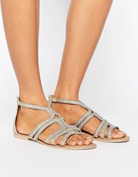 Faith Jiji Embellished Flat Sandals Silver