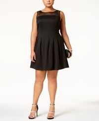 Ellen Tracy Plus Size Embellished Illusion Fit And Flare Dress Black