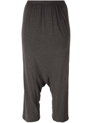 Rick Owens Lilies Drop Crotch Tapered Trousers Grey