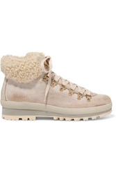 Bogner St. Anton Waxed Leather Ankle Boots Beige