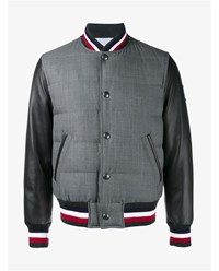 Moncler Gamme Bleu Leather Sleeved Down Filled Bomber Jacket Black Grey Navy Red White Blue
