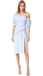J. Mendel One Shoulder Wrap Dress Blue Ivoire