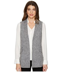Ellen Tracy Textured Gilet Jaspe Black Combo Women's Clothing Gray