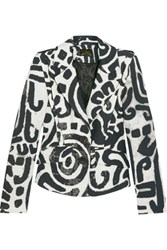 Vivienne Westwood Anglomania Card Printed Textured Cotton Blazer White