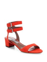 Tabitha Simmons Aimee Double Strap Suede Block Heel Sandals Poppy Red Sand