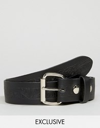 Reclaimed Vintage Embossed Leather Belt Black Black
